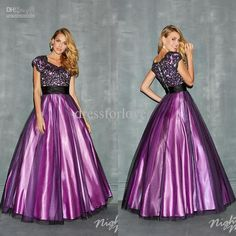 Wholesale Prom Dress - Buy Modest New Short Sleeve Beaded Lace Applique Tulle Overlay Ball Gown Purple Black Two Tones Pageant Prom Dresses Evening Formal Gown 0060, $159.0 | DHgate