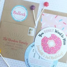 Donut Birthday Party Invitations, Pink Donut Party, Kids Birthday Party Theme, Kraft Envelopes with Pink Sprinkles Envelope Liners, Round Address Labels, Round Birthday Cards. You Donut Want to Miss! Cordial Punch Press.