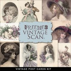 Freebies Vintage Post Cards Kit- For Oh So Many Projects!