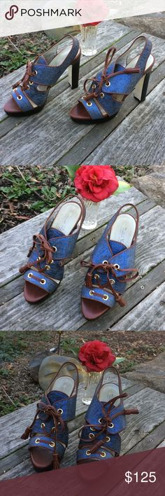 """🌺 Ron White - Designer 5"""" Blue Pumps Wmn. 37/6.5! RARE! Check out these Designer, Ron White Shoes in a Women's Size 6.5 (European Size 37). Beautiful blue design has an amazing sheen that sparkles when the sun shines down on them. British Tan Leather trim. Look great with cropped jeans. 5"""" Black heel. Actual height is approx. 4"""" as front of shoe lift is 1."""" Show-stopper item! Selling at a fraction of Retail. See other Ron White Shoes at Nordstrom.com. Made in Italy & in good, pre-owned…"""