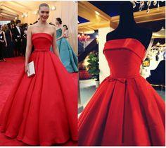 red prom Dress,strapless Prom Dress,A-line prom dress,satin prom dress,long prom dress,BD906