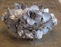 SALE Silver and white ICE upcycled flower by MyJewelryStash, $48.00