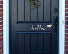 Hello Wall Decal Cursive Writing Flying Bird Door Entryway Home Decor Sticker Art