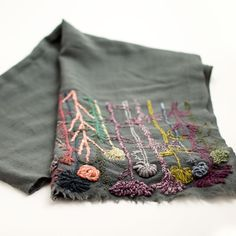 Sophie Digard - Wild Plants Linen Scarf Would be beautiful on a sleeve! Embroidery Stitches, Embroidery Patterns, Hand Embroidery, Textiles, Knit Or Crochet, Square Scarf, Needle And Thread, Hand Stitching, Needlework