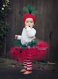 Strawberry Tutu  Costume (tutu, hat and legs). $44.00, via Etsy.