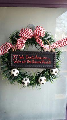 Soccer wreath Wreaths For Front Door, Door Wreaths, Soccer Wreath, Soccer Locker, Holiday Wreaths, Holiday Decor, Door Hangings, Soccer Stuff, Decorating Ideas