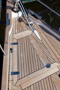 Gorgeous teak decking on the bow of a 2012 Hallberg-Rassy 372.