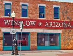 "In Winslow, Arizona, they've commemorated that Eagles lyric. ""Standin' on a corner...it's a girl, my lord, in a flat-bed Ford (slowing down to take a look at me...)"""