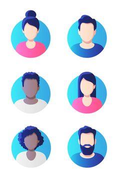 Profile Picture Set Vector Illustration Avatar Profile Picture, Picture Icon, Vector Graphics, Icon Set, Kids Rugs, Templates, Illustration, Design, Stencils