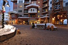 Mountaineer Square Courtyard, Crested Butte Mountain Resort, Crested Butte, Colorado. Come check out the tapas at Django's, you won't regret it.