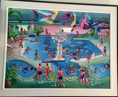 Folk Art Naive painting  Wave pool Original acrylic by treeartist