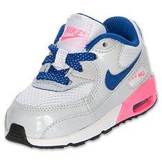Girls' Toddler Nike Air Max 90 Running Shoes| FinishLine.com | White/Hyper Blue/Digital Pink/Platinum
