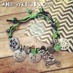 Dirtbike charm braceletgreat for layering/stacking by WhimsyKnots