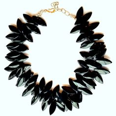 Black Jet glass 2 strand collar necklace inspired by Ancient African jewelry. Modern shape shiny black jet resin can be a inspiration for your impeccable style. Can also be worn long. Very lightweight