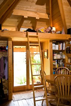 Quietude - Pre-fab cabin by Henry Yorke Mann. 300 square foot living space with 100 square foot basement. Loft Bed : )