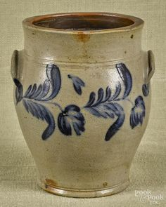 Pennsylvania stoneware two-handled crock, 19th c., with cobalt floral decoration, 10'' h. - Price Estimate: $140 - $240