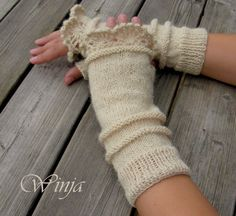 Knitted gloves fingerless gloves knitted mittens arm by OnGoodLuck