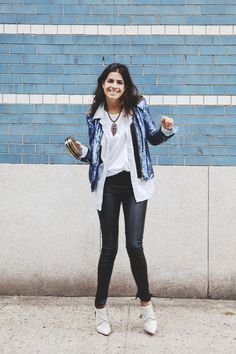 The Man Repeller, for a night on the town. Sequin on denim on muscle tee, with leather and suede.