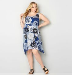 Find flattering new plus size dresses for weddings and showers like the Blue Floral Trapeze Dress available online at avenue.com. Avenue Store