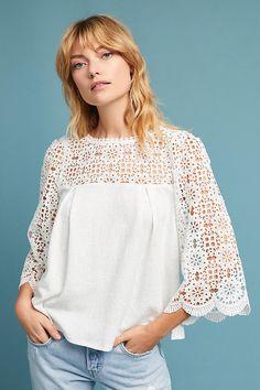 Anthropology Lace Shirt - Medium