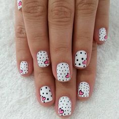 Cute Manicures - Pink and Black Nail Designs - Valentines Nails - The Best Valentines Nail Designs - Easy and Cute Valentines Day Nails, Heart Nail Designs and Nail Color Ideas Dot Nail Designs, Heart Nail Designs, Cute Nail Art Designs, Nails Design, Simple Nail Designs, Beautiful Nail Designs, Heart Nail Art, Heart Nails, Heart Art