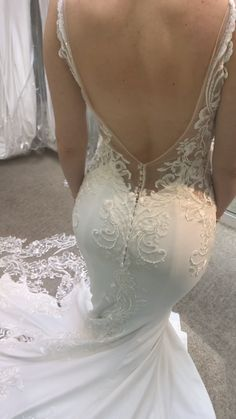 Gorgeous Embroidered Strapless Sweetheart Mermaid Wedding Dress / Bridal Gown with a Veil and a Train. Dress by Valdrin Sahiti Stunning Wedding Dresses, Dream Wedding Dresses, Bridal Dresses, Wedding Gowns, Berta Bridal, Backless Wedding, Mermaid Dresses, Lace Weddings, Mermaid Wedding