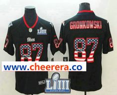 ad19131b Men's New England Patriots #87 Rob Gronkowski 2019 Super Bowl LIII Patch  USA Flag Fashion Black Color Rush Stitched Nike Limited Jersey