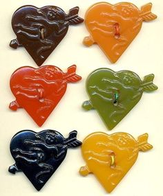 Bakelite Heart Shaped Buttons with Cupids