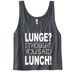 Lunge? I thought you said Lunch! Funny Gym Tank Top. Workout Tank. Yoga Tank, Gym Vest. Funny workout slogan. Tank Top for Women. Fitness by SoPinkUK on Etsy
