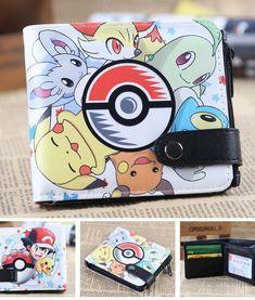Anime Pikachu poke ball  logo leather short wallet Student bifold purses NEW HH