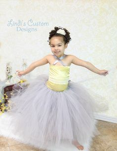 Yellow & Silvery Grey Tulle Tutu Flower Girl by sweethearttutus