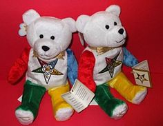 "Eastern Star Teddy Bear, Electa: Meet ""Electa"", the ""beanie type"" Order of the Eastern Star Bear, complete with descriptive hangtag. Of soft velevty plush, she stands nine inches tall and makes a wond"