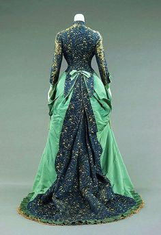 Green-Blue Victorian Gown 1880