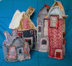 Fabric houses. Would be great for creating a fairy garden indoors or on a covered porch.
