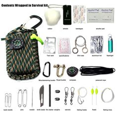 Fishonly 22 Pcs In 1 Multifunction Outdoor Fishing Survival Gear Kit Parachute Cord Portable First Aid Emergency Survival Kits Tools Bag with Flashlight Knife Fire Starter Whistle * Find out more details by clicking the image : Safety and Survival