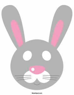 Rabbit mask template. There is also a coloring page version of the mask. Free printable PDF at http://maskspot.com/download/rabbit-mask/