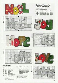 Joy, hope, and Love Plastic Canvas Letters, Plastic Canvas Coasters, Plastic Canvas Ornaments, Plastic Canvas Crafts, Free Plastic Canvas Patterns, Printable Christmas Ornaments, Crochet Christmas Ornaments, Christmas Cross, Christmas Patterns