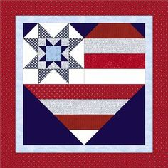 Star Spangled Heart pattern by Julie Cefalu @ The Crafty Quilter; includes several sizes and options including this nesting sawtooth star. Flag Quilt, Patriotic Quilts, Star Quilt Blocks, Star Quilts, Scrappy Quilts, Mini Quilts, Barn Quilt Designs, Barn Quilt Patterns, Quilting Designs