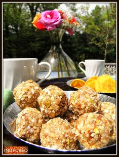 #Nutritious #pick-me- ups- Oats, flax seeds and dry fruit laadus served with afternoon tea