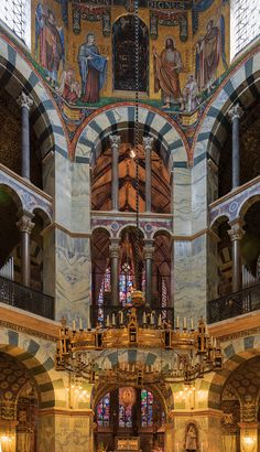 Aachen, Germany:Barbarossaleuchter in the Palatine Chapel of the Imperial Cathedral