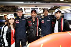 Patrick Dempsey Photos - Max Verstappen of Netherlands and Red Bull Racing, Daniel Ricciardo of Australia and Red Bull Racing, Chinese singer, G.E.M., Chinese actor, Li Yifeng, and Patrick Dempsey, actor, outside the Red Bull Racing garage ahead of the Monaco Formula One Grand Prix at Circuit de Monaco on May 29, 2016 in Monte-Carlo, Monaco. - F1 Grand Prix of Monaco