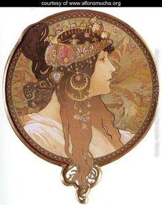 Byzantine Head: The Brunette. 1897 - Alphonse Maria Mucha - www.alfonsmucha.org