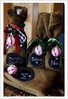 Burlap and chalkboard fabric gift bag DIY