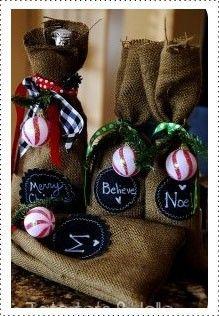 Burlap and chalkboard fabric gift bag DIY