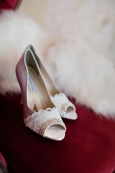 Wedding Shoes Peep Toe Pump with Swarovski Crystal and vintage lace #apparel #bride $145