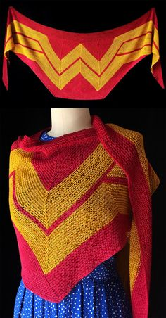 Free Knitting Pattern for Wonder Woman Wrap - This amazing shawl by Carissa Browning is perfect for everyday super heroes. When wrapped, it's a stunning graphic shawl to protect your secret identity but open it up and you reveal your super powers. Span: 86 inches Height at center: 22 inches