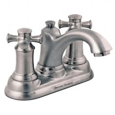 View Portsmouth 2-Handle 4 Inch Centerset Bathroom Faucet with Cross Handles Shown In Satin Nickel (295)