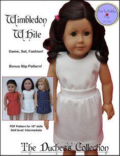 "Wimbledon White Dress 18"" Doll Clothes"