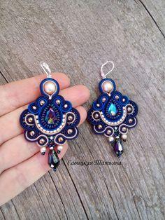 Beautifult Blue Earrings- Statement Soutache Earrings-Hand Embroidered Soutache Jewelry-Handmade Earrings with Crystals-Soutache Jewelry Blue Earrings, Beaded Earrings, Earrings Handmade, Handmade Jewelry, Crochet Earrings, Quilling Patterns, Quilling Designs, Beaded Jewelry Patterns, Fabric Jewelry
