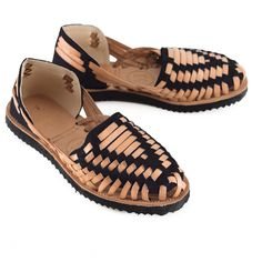 67b865c9cb2 Women s Black Woven Leather Huarache Sandals
